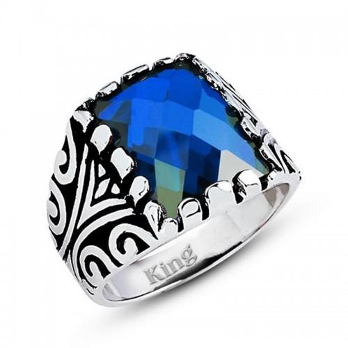 Motifli Gümüş Erkek Yüzük-Mavi