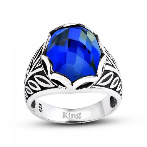 Başak  Motifli Gümüş Erkek Yüzük-Mavi