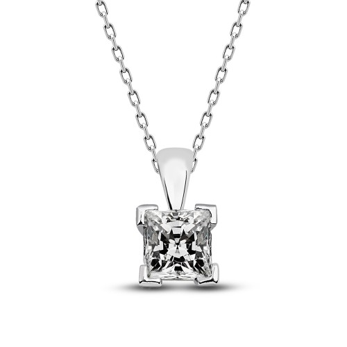 Prenses Kesim  Taşlı Gümüş Kolye