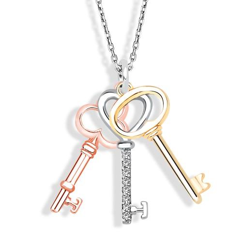 Karışık Anahtar Gümüş Kolye Seti - 3 Renk
