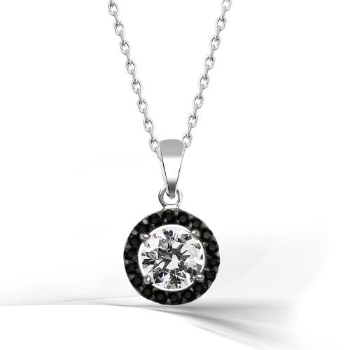 Siyah & Beyaz Gümüş Kolye - Rodyum Kaplama