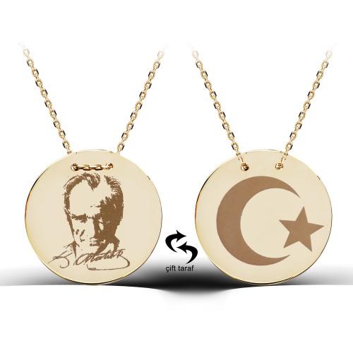 Atatürk Ve Türk Bayrağı Figürlü Gümüş Madalyon