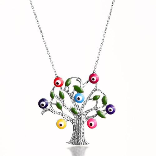 Karışık Renk Nazarlık Mineli Hayat Ağacı Gümüş Kolye