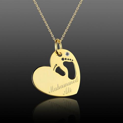 """Kalp İçinde """"Bebeğimin Ayağı"""" Gümüş Kolye"""