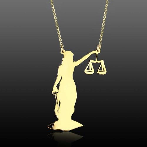 Adalet Tanrıçası Themis Gümüş Kolye