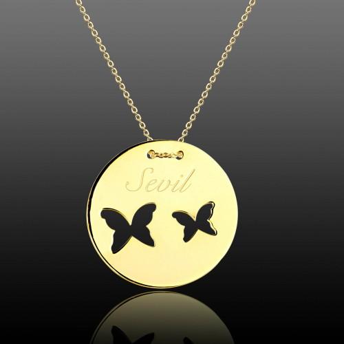 İsimli Kelebekler Gümüş Kolye