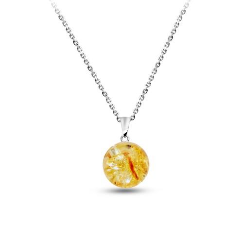 Doğal Sarı Kehribar Taşlı Gümüş Kolye