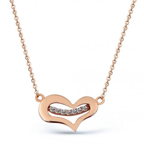 Yedi Taşlı Tasarım Kalp Gümüş Kolye - 18 Ayar Rose Altın Rengi Kaplama