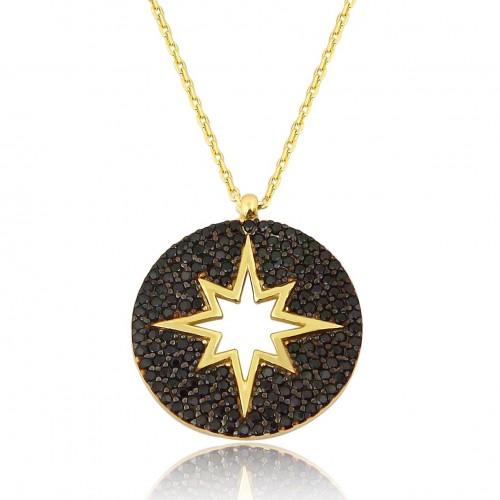 Siyah Zirkon Taşlı Altın rengi Kaplamalı Kutup Yıldızı Kolye