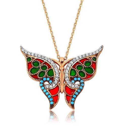 Tasarım Kelebek Gümüş Kolye