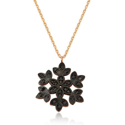 Siyah Zirkon Taşlı Rose Altın Kaplama Kartanesi Kolye
