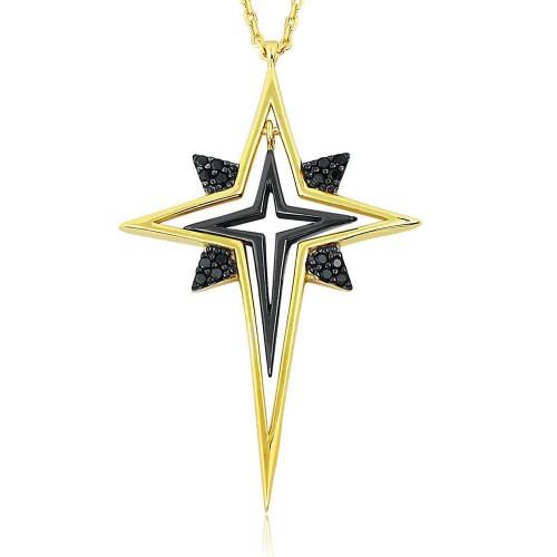 Siyah Zirkon Taşlı Beyaz Altın rengi Kaplamalı Kutup Yıldızı Kolye