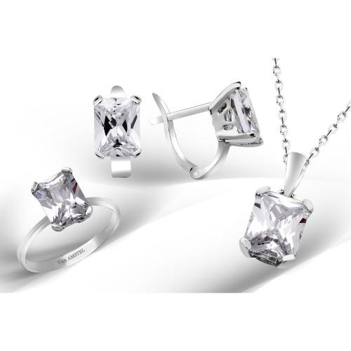 Caroline Kesim Swarovski Taşlı Gümüş Set
