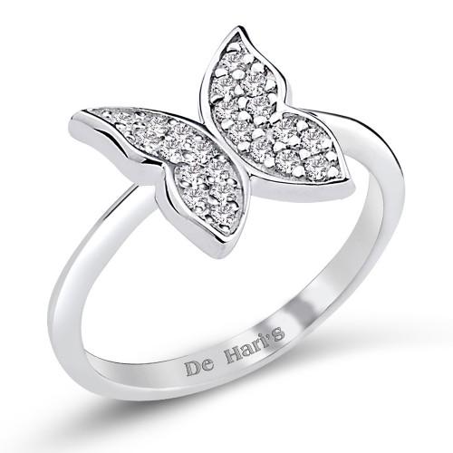 Tasarım Kelebekli Gümüş Yüzük