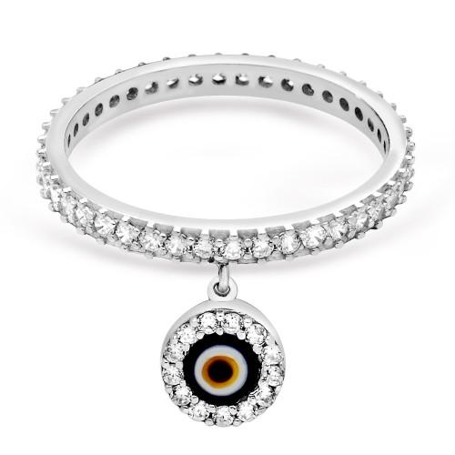 Nazarlık Figürlü Tamtur Gümüş Yüzük - Beyaz Altın Rengi