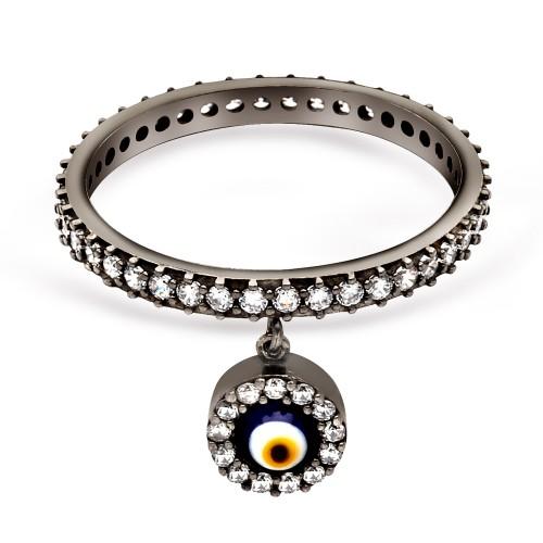 Nazarlık Figürlü Tamtur Gümüş Yüzük - Siyah Altın Rengi