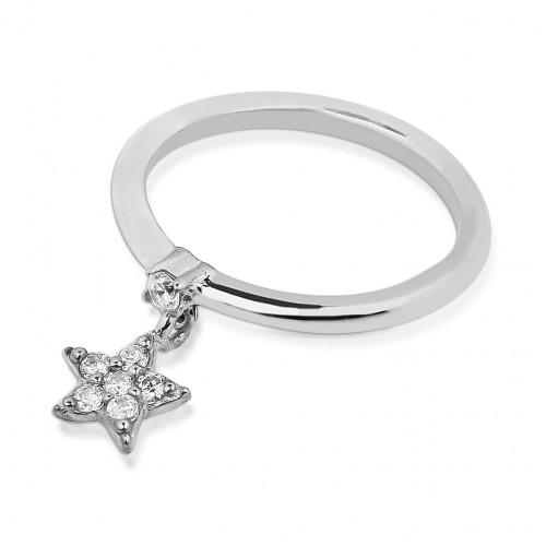 Taşlı Yıldız Motifli Zirkon Tek Taşlı Gümüş Yüzük - Beyaz Altın Rengi