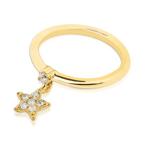 Taşlı Yıldız Motifli Zirkon Tek Taşlı Gümüş Yüzük - Yeşil Altın Rengi