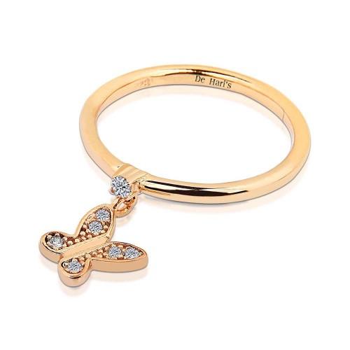 Taşlı Kelebek Motifli Zirkon Tek Taşlı Gümüş Yüzük - Rose Altın Rengi