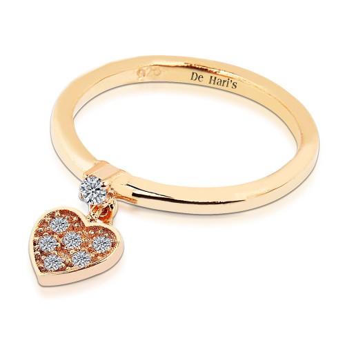Taşlı Kalp Motifli Zirkon Tek Taşlı Gümüş Yüzük - Rose Altın Rengi