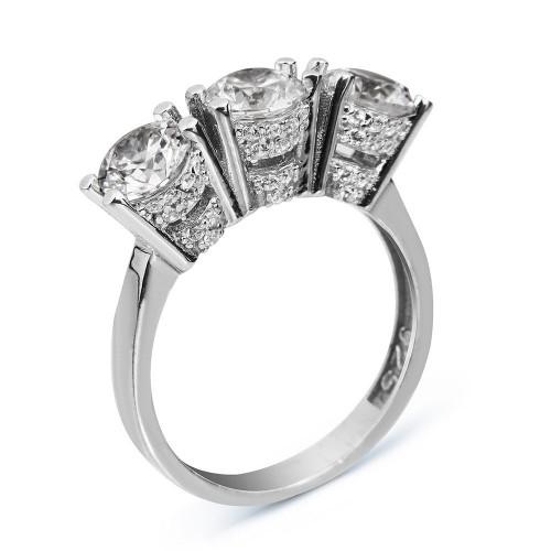 3 x 1,00 CT Pırlanta Montürlü Gümüş Tria Yüzük