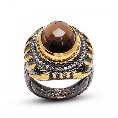 Doğal  Oval  Smoky Quartz  Taşlı 24 Ayar Som Altın Kaplamalı Otantik Gümüş Yüzük