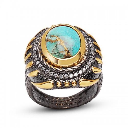 Doğal  Oval  Tibet Firüze 24 Ayar Som Altın Kaplamalı Otantik Gümüş Yüzük