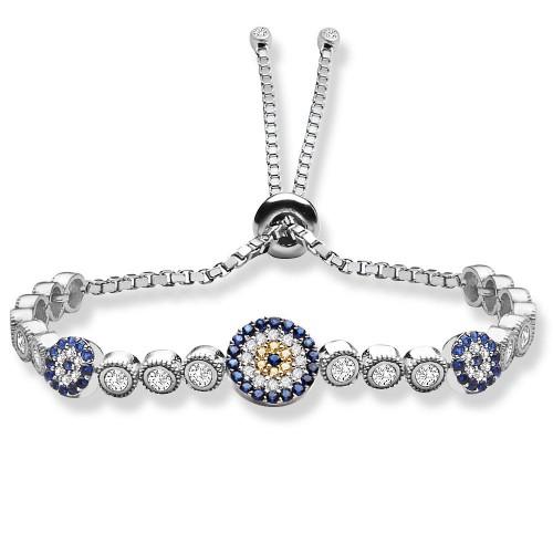 Üç Nazar Boncuklu Asansörlü Suyolu Gümüş Bileklik - 18 Ayar Rodyum Kaplama