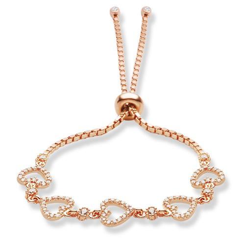 Beş Kalp Objeli Asansörlü Suyolu Gümüş Bileklik - 18 Ayar Rose Altın Rengi Kaplama