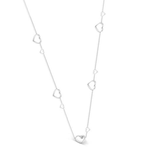 Kalp Üzeri Tek Taş Yanları Kalp Sarkıntılı Kolye - Gümüş