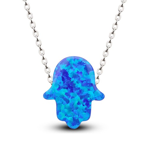 Büyük Mavi Renk Opal Taşlı Fatma Eli Kolye