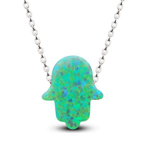 Büyük Yeşil Renk Opal Taşlı Fatma Eli Kolye