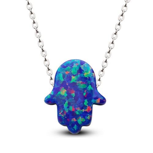 Büyük Lacivert Renk Opal Taşlı Fatma Eli Kolye