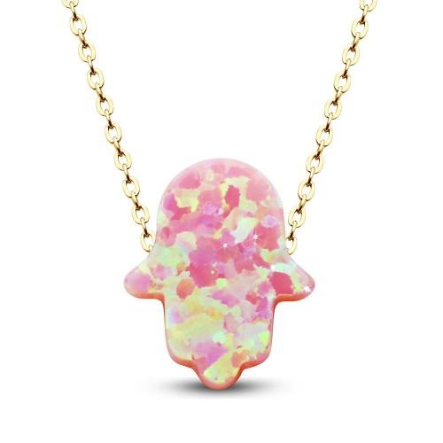 Küçük Pembe Renk Opal Taşlı Fatma Eli Kolye