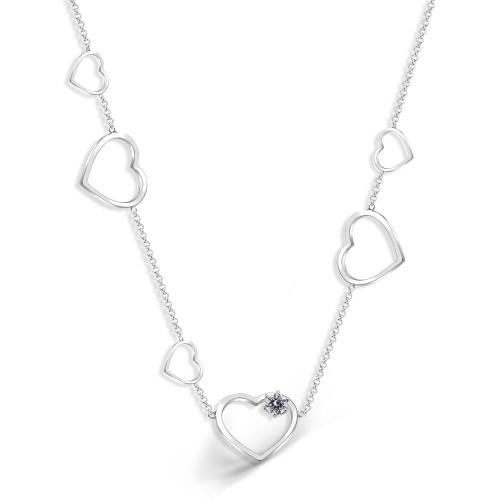 Kalp Üstü Tek Taş Yanları Sarkıntılı Kalp Figürleri Kolye - Gümüş