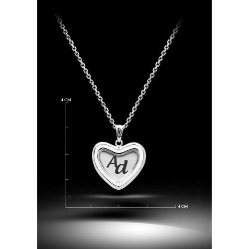 Kalp İcinde  Baş Harfleri  Kolye - Gümüş