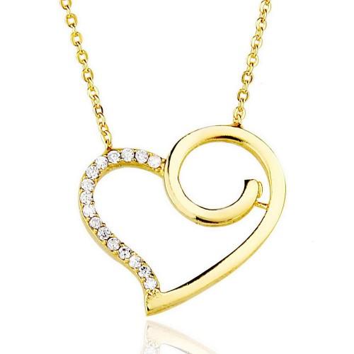 Taşlı Kalp Kolye - Gümüş