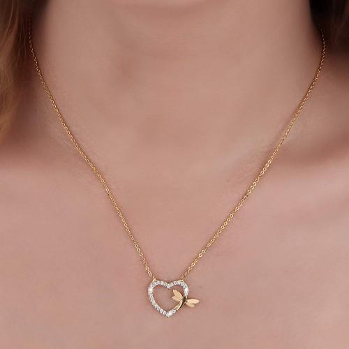 Taşlı Kalp Üstü Yusufcuk Figürlü  Kolye - Gümüş