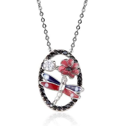 Oval Taş  Üstü Yusufcuk & Çicek  Figürlü  Kolye - Gümüş