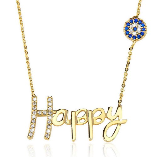 Taşlı Nazar Boncuğu Happy Yazı Figürlü  Kolye - Gümüş