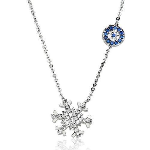 Taşlı Nazar Boncuğu Kar Tanesi Figürlü  Kolye - Gümüş