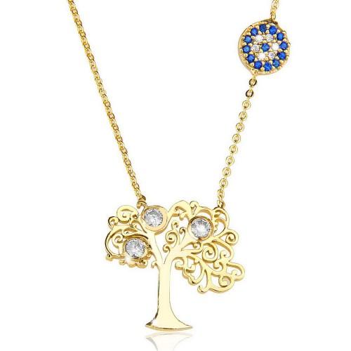 Taşlı Nazar Boncuğu Hayat Ağacı Figürlü  Kolye - Gümüş