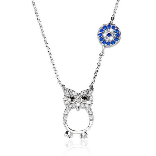 Taşlı Nazar Boncuğu Bay Kuş   Figürlü  Kolye - Gümüş