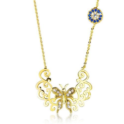 Taşlı Nazar Boncuğu Kelebek   Figürlü  Kolye - Gümüş