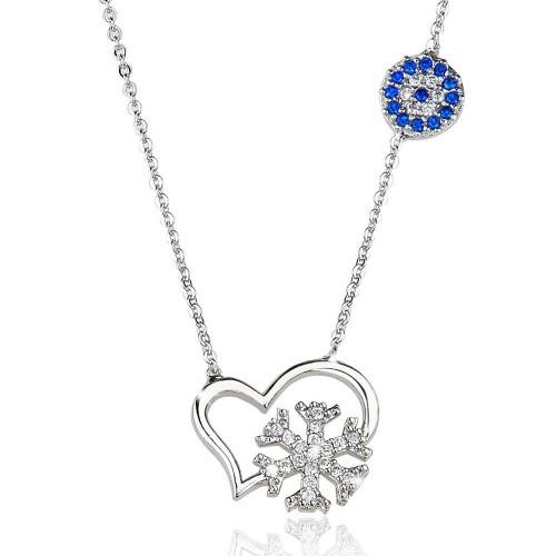 Taşlı Nazar Boncuğu Kalp İçinde Kar Tanesi   Figürlü  Kolye - Gümüş