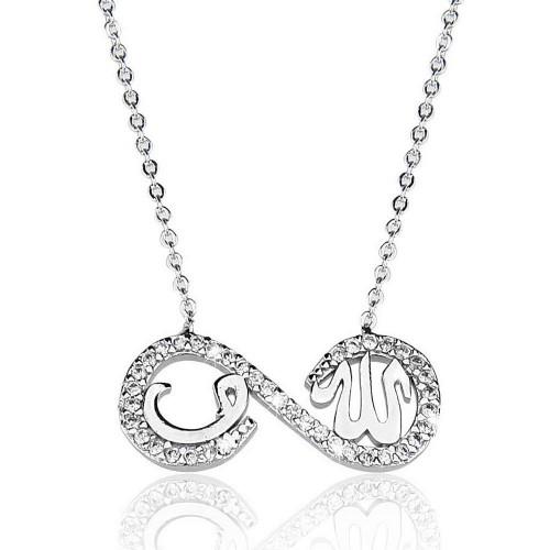 Taşlı Nazar Boncuğu Sonsuluk İçi Vav & Allah Yazısı Figürlü Kolye -gümüş