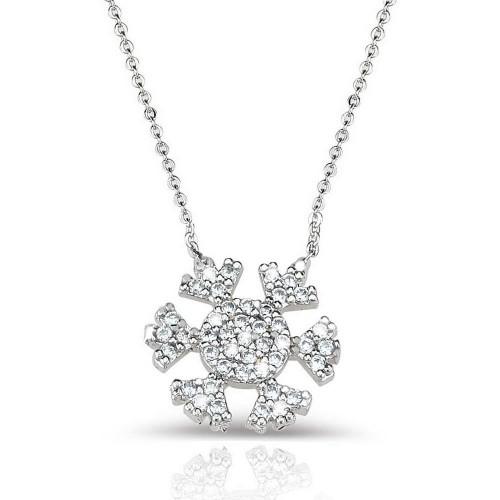 Taşlı Kar Kar Tanesi  Kolye - Gümüş