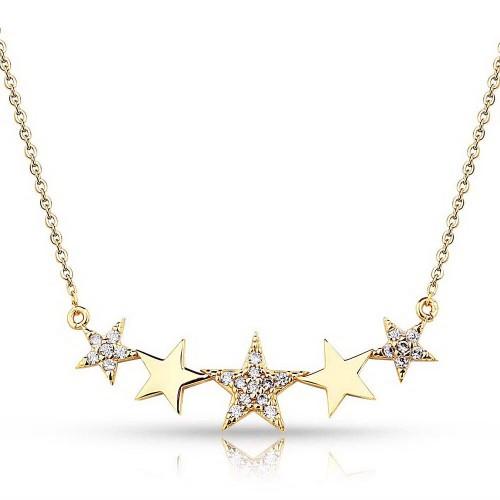 Taşlı Yıldız Figürlü Kolye - Gümüş