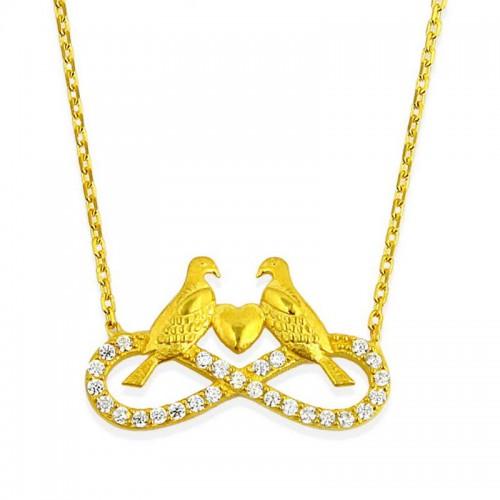 14 ayar Altın Sonsuzluk Kalp Kuş