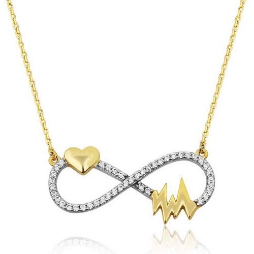 Kalp Atışı Sonsuzluk Beyaz Zirkon Taşlı Altın Renkli Kolye